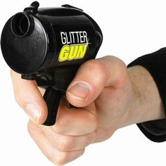 "This is real! Arm yourselves with the ""GLITTER Gun""! I feel like we NEED this for the bachelorette party or as they are walking outside of the church after the wedding! lol"