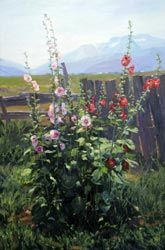 """""""Hollyhocks and Board Fence,"""" Valoy Eaton, 42x63, oil on canvas http://www.valoyeaton.com/"""