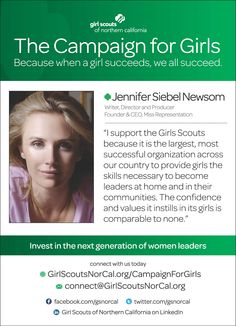Jennifer Siebel Newsom, Writer, Director, Producer - and proud Girl Scout alumna! http://www.girlscoutsnorcal.org/campaignforgirls