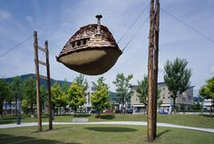 Fujimori creates ecologically sensitive and extremely energy-efficient buildings that utilize materials such as volcanic rock, earth and charred wood. His famous dream-like tea houses are suspended on rickety stilts and appear to be floating on air.