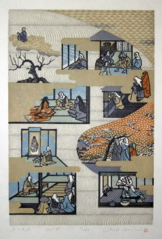 I am absolutely in awe of Ray Morimura's woodblock prints. MORIMURA Ray 2004 Amano Shogai Nun's Life