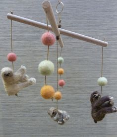 Mobile, Felted Wooly Sloths