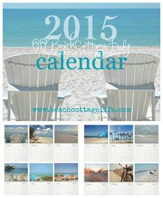 """Beach Cottage Life 2015 calendar now available! Seaside photos to keep your toes in the sand all year long! 2 styles available, find """"Coastal Quotes"""" version here: https://www.etsy.com/listing/208117452/2015-quotes-wall-calendar-beach-cottage?ref=shop_home_feat_3 Which one's for you?"""