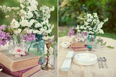 jars flowers books centerpiece - Google Search