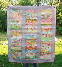 Colourfull quilt made with scraps 40x46