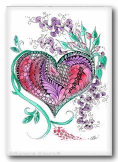Zentangle inspired © Simone Bischoff001Herzstuecke07062012