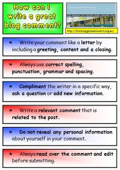Teach your students how to write quality comments on posts before they move on to writing their own posts.