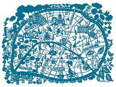 hand cut paper map of Paris