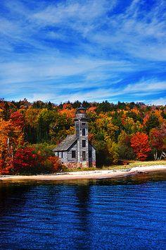 autumn, Grand Island Lighthouse, Munising, MI