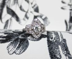 1940's Stunning Platinum and Diamond Antique Style Ring, $2000.00