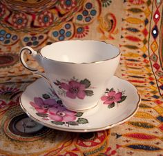 Wild Rose Grosvenor Bone China Tea Cup and Saucer Made in England