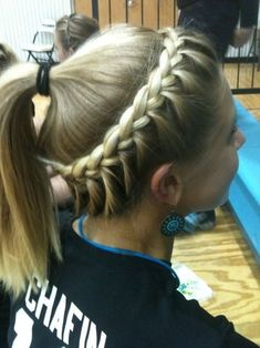 Side View of Girls Softball Hair - Braided Hairstyle
