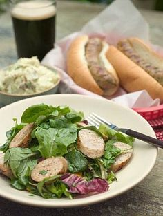 Secret Ingredient: Market-Made Chicken Sausage Serve with potato salad, coleslaw or a green salad and plenty of spicy brown mustard. To learn how to make this recipe, watch the  Secret Ingredient cooking show.