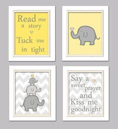 Nursery Quad, Yellow and Grey Nursery, Elephant Nursery, Set of 4 8X10, Yellow, Grey on Etsy, $37.00