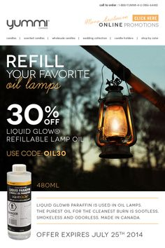30% OFF Liquid Glow Refillable Lamp Oil! Use Promo Code OIL30 At Checkout ONE WEEK ONLY