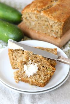 Zucchini Coconut Bread- made with whole wheat flour, coconut oil and greek yogurt.  Made this last night and it was SUPER moist.  Took 60+ minutes to cook- and next time I will add a pinch more flour.  TASTY!