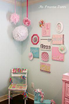 Nursery Decor: Bright & Colorful Baby Girl Nursery Wall Display/Gallery