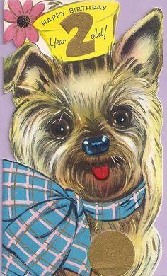 vintage card - adorable yorkie puppy  #vintage #birthday #card*