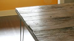 dining table for six from reclaimed old growth wood with steel hairpin legs, industrial modern rustic
