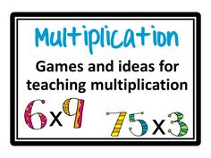 Multiplication games, ideas, charts and more! Fun ways to teach multiplication!