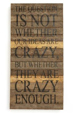 The question is not whether our ideas are crazy, but whether they are crazy enough.
