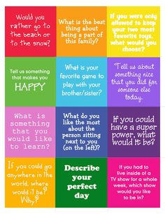 Free conversation starter printable!  This would be fun