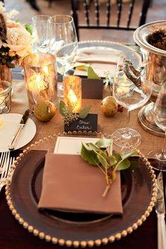 A fall table setting  Read More: http://stylemepretty.com/2013/10/31/deer-valley-utah-wedding-from-pepper-nix-photography-honey-of-a-thousand-flowers/