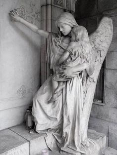 Angel statue in the graveyard of Trzic, Slovenia