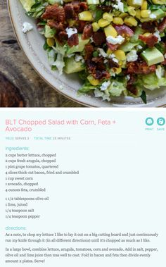 BLT Chopped Salad with Corn, Feta, & Avocado