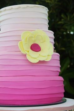 PINK OMBRE CAKE at a Pastel Butterfly Garden Party with Such Cute Ideas via Kara's Party Ideas   KarasPartyIdeas.com #Butterflies #Girl #Butterfly #PartyIdeas #PartySupplies #Cake