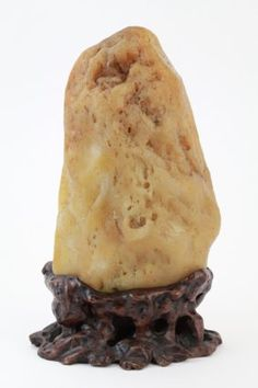 Chinese Yellow Dragon Jade Boulder with Base