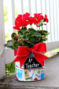 Teacher Appreciation Gifts made out of baby formula cans