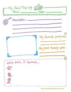 The Unlikely Homeschool: Free Field Trip Log (notebook page) Printable