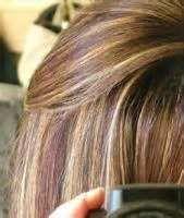 purple and blonde hightlights in brown hair - Bing Images
