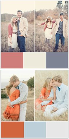 Color palette ideas for fall engagement photo outfits!