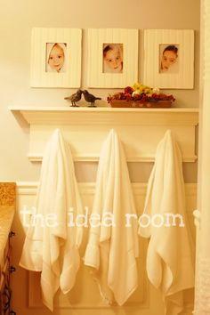 DIY new bathroom shelf with towel hooks
