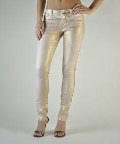 Blush Gold Foil Pastille Skinny Jeans