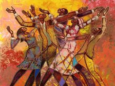 """Every Round Goes Higher"" by Larry ""Poncho"" Brown from Baltimore, MD. This image was created for the Douglass Memorial Community  Church Inspirational Choir in 2008. Another great piece of African-American artwork by Poncho. This limited edition is now available in our New Releases section."