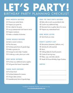 Printable BIrthday Party Planning Checklist