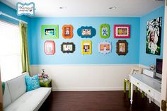 wall colors, blue walls, kid art, kid rooms, design kitchen, kitchen design, picture frames, bright colors, frame walls