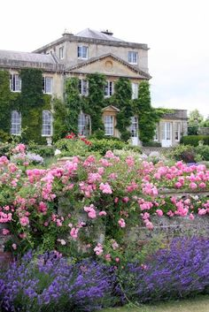Classic wild-influenced English flower garden, designed by Capability Brown in the 1700s, surrounds the English manor house Bowood.
