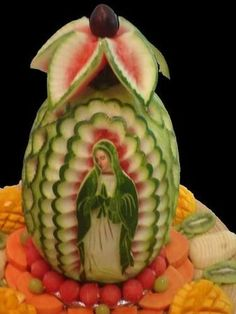 fruit carvings, virgen de guadalupe, blessed mother, watermelon art, food, watermelon carving, virgin mary, fruit art, watermelons