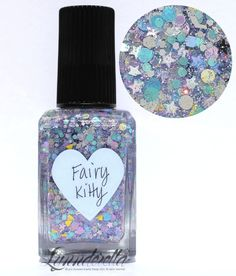 Lynnderella Limited Edition—Fairy Kitty is a blend of assorted pastels and greys, accented with silver holographic micro stars in a multishimmered, clear base.