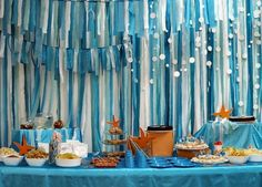 Streamers to decorate, blue tablecloth.