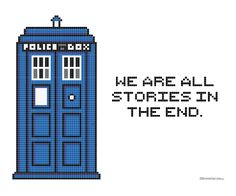 """Doctor Who themed cross stitch pattern - free printable - """"We are all stories in the end."""" #DIY #Craft #Tardis"""