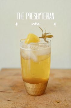 The Presbyterian Cocktail (bourbon, ginger beer, bitters) in a  Honeycomb Glass from West Elm
