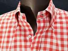 Bergdorf Goodman Mens Orange White Check Cotton Shirt Size L Made in Italy