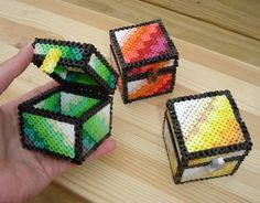 Emerald green Ruby red Gold yellow block treasure chest box perler pixel 8bit Minecraft style desk ornament ring box spring summer colors