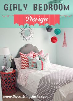 Cute girly bedroom design + 29 other fun girl bedroom ideas! I like the pom poms and the wall paint