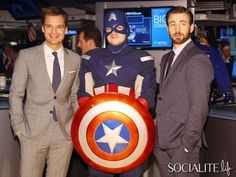 Chris Evans And Sebastian Stan Hang Out With Captain America At The New York Stock Exhange